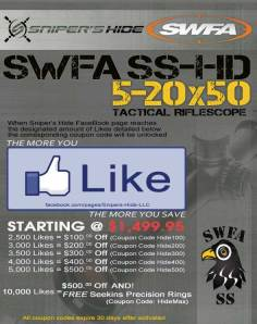 snipers hide promo, snipers hide disocunt code, swfa discount code, rifle scope discount code, hunting discount code, carducci tactical